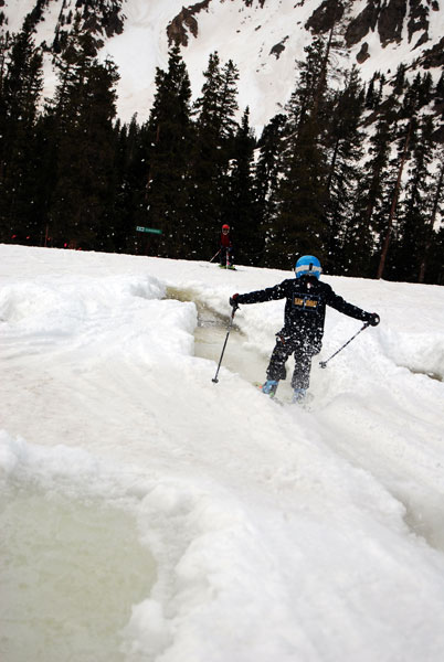 Quinn pond skims across one of the many water-filled troughs at A-Basin.