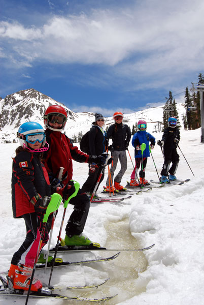 Team Summit gets ready to ski a river at A-Basin. Who needs sharp edges?
