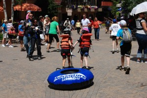 Floating on a tube can be easy. Dragging it through Vail village, not so much.
