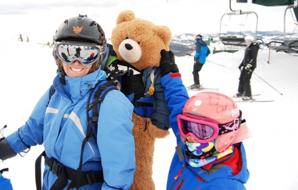 Fudgey the bear goes skiing, because a deal's a deal, no matter how absurd.
