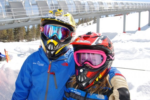 The full-face helmets add a serious cool factor to kids' snowmobiling at Vail.