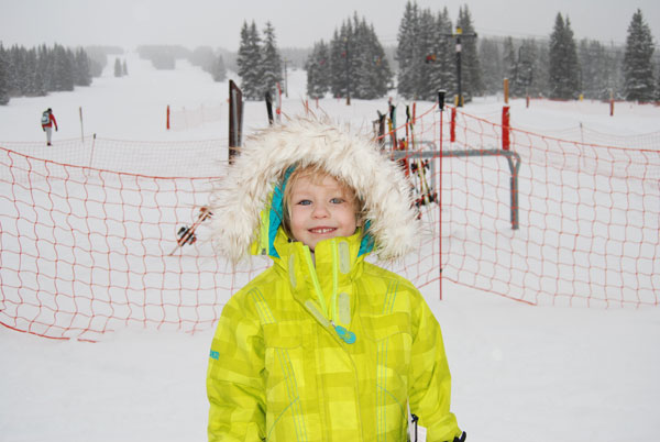 My daughter: a tad out of place with the fur-trimmed hood at Ski Cooper.