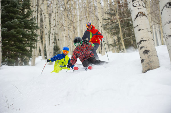 Get them hooked when they're young, and you can ski with your kids in the aspens at Aspen. Photo by Scott Markewitz