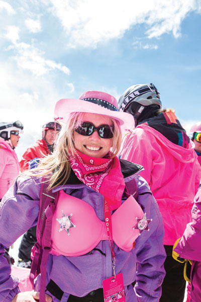 There are few opportunities to wear your bra on the outside of your ski jacket. Anything for a good cause. Photo by Zach Mahone