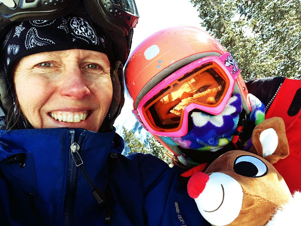 Hanging on the lift at Loveland with Rudolph.