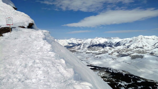 The vertiginous view from (nearly) the very top of Crested Butte is spectacular. Acrophobes need not aply.