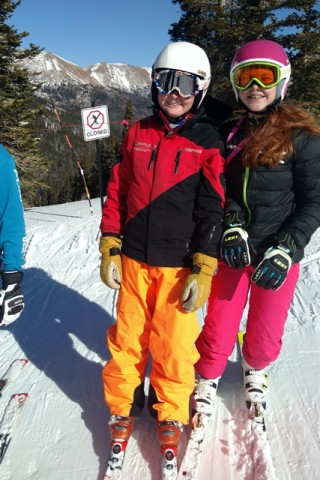 While my teenaged son and I skied, my younger son skied with the ski team.
